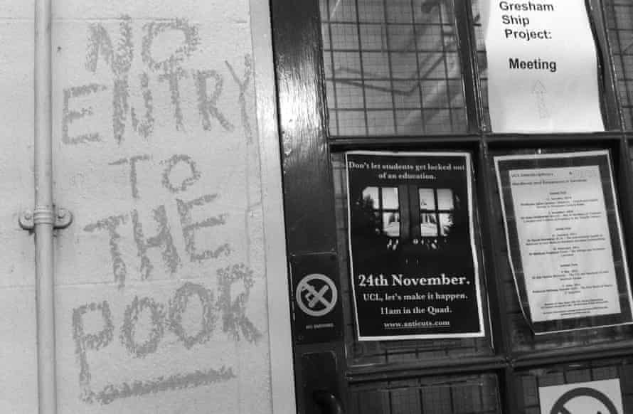 Graffiti by door at UCL during student protests in 2010