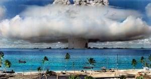 Colorization of the Bikini Atoll nuclear explosion by Sanna Dullaway.