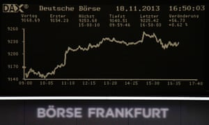The curve of the German share price index DAX board, is pictured at the Frankfurt stock exchange November 18, 2013.