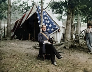 American Civil War: Union Capt. Cunningham, 1863. Colourisation from a black and white wet collodion glass plate.