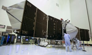 Technicians work on the Maven spacecraft