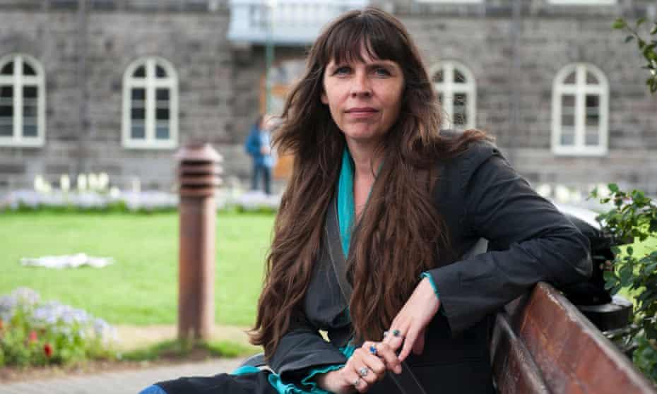 A file photo of Birgitta Jónsdóttir near Iceland's parliament building in Reykjavik in August 2010