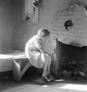 A portrait from Dorothea Lange's documentation of the Great Depression. Pictured is a resettled farm child from Taos Junction to the Bosque Farms project - a piece of land acquired by the Federal Resettlement Administration that year to house Dust Bowl refugees.