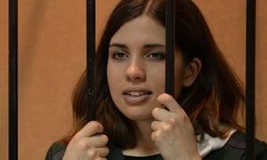 Pussy Riot band member Nadezhda Tolokonnikova in the defendant's cage during a court appearance