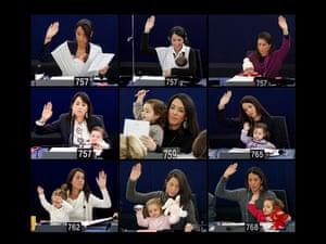 Vittoria, the daughter of Italian MEP Licia Ronzulli, at sessions of the European parliament