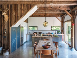 Homes - Remodelista: Kitchen and dining area of house made from wood and metal