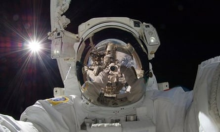 Japanese astronaut Aki Hoshide selfie