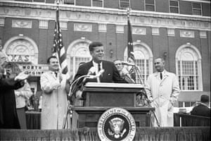 JFK Art: President Kennedy speaks to the crowd outside the Hotel Texas