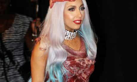 Lady Gaga in a meat dress