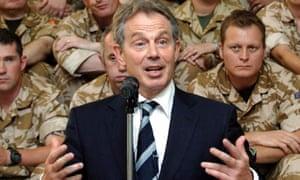 Tony Blair speaking to British soldiers in Iraq