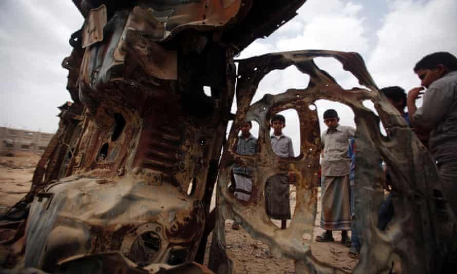 Wreckage of car destroyed by a US drone air strike ni Yemen