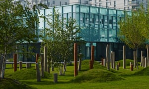 No man's land … playful poles and grassy humps in the playground.