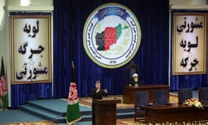 Afghan president Hamid Karzai speaks on the first day of a four-day loya jirga in Kabul.