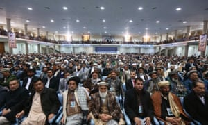 Members of the Afghan loya jirga attend a gathering in Kabul.