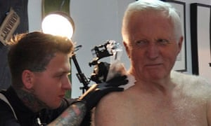 David Dimbleby having a tattoo