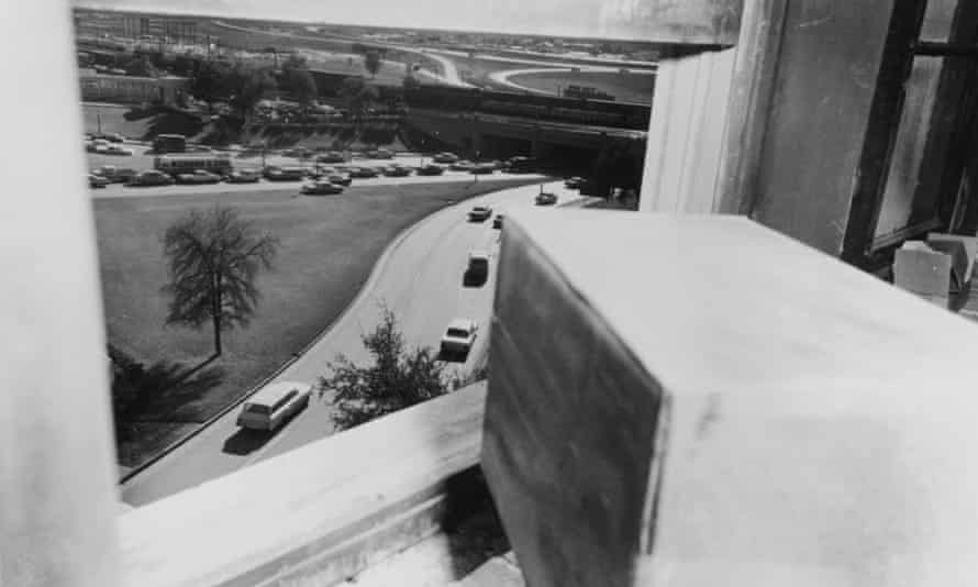 The view from the sixth floor window of the Texas School Book Depository in Dallas, from which Lee Harvey Oswald is thought to have assassinated President John F. Kennedy, 22nd November 1963.