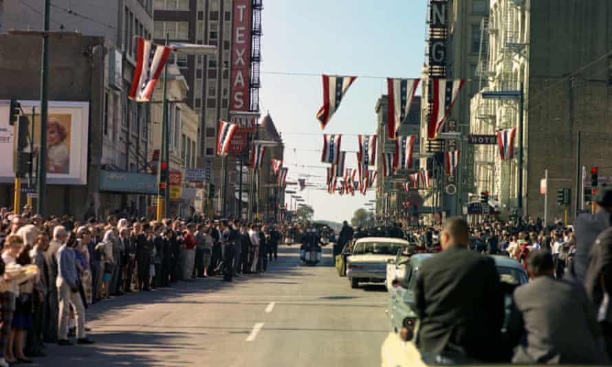 The motorcade passing through Dallas. JFK Assassination