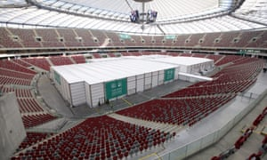 The pre-fabricated structure inside the National Stadium in Warsaw, used to accommodate events of the UN Climate Change Conference 2013