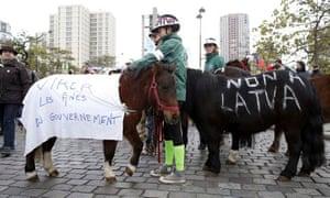 Horses at Paris protest