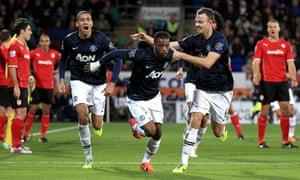 Patrice Evra celebrates.