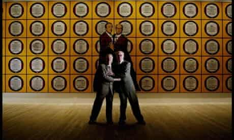 Gilbert and George at the launch of a major exhibition of their work at the Tate Modern, 2007