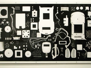 Annie Halliday's, Sum of the Parts, a photogram of the parts of a PCR machine.