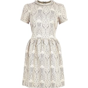 Party dresses update: Jacquard skater dress with embellished neckline, £45, riverisland.com