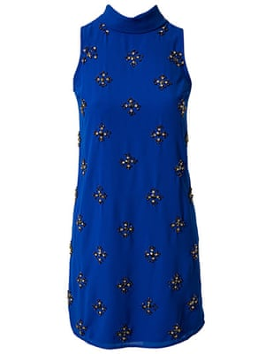 party dresses: party dresses - embellished blue shift dress by river island