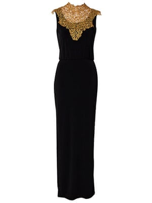 party dresses: party dresses - black maxi dress with gold embroidered neck by dark pink