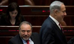 Avigdor Lieberman and Israeli prime minister Binyamin Netanyahu