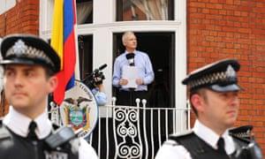 Julian Assange outside embassy
