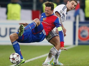 Basel's Marco Streller doesn't like what Chelsea's Branislav Ivanovic is doing to him one bit.