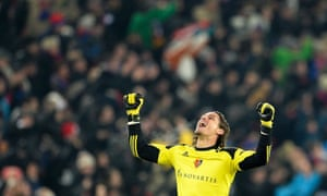 Basel's goalkeeper Yann Sommer celebrates his team's winning goal during the Champions League match against Chelsea.