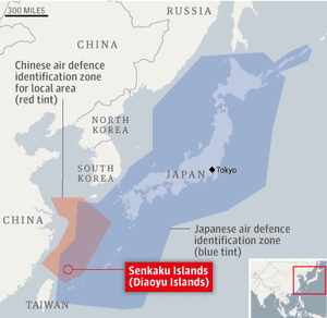 Map: Japan/China air defence areas around the Senkaku Islands