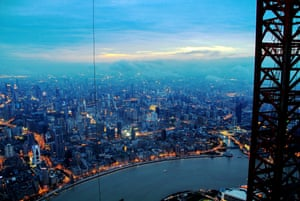 A view of Shanghai from a crane above the city.