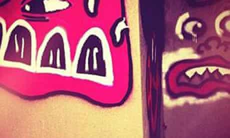 The offending graffiti on Justin Bieber's Instagram account.