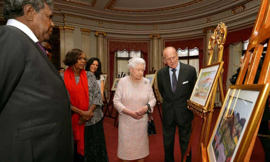 Queen Elizabeth II and the Duke of Edinburgh talk with Kevin Namajtira (left) the grandson and Lenie Namatjira (second left) the granddaughter of Albert Namajtira the Aboriginal artist, during a private meeting with members of his family.