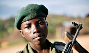 A child soldier at Kanyabayonga in eastern Congo