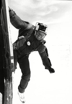 Lewis Collins: Making a parachute jump at Weston-on-the-Green airfield in 1987