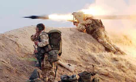 A Royal Marine fires a wire-guided missile in Iraq