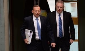 Prime Minister Tony Abbott and immigration minister Scott Morisson.