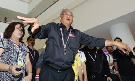 The leader of the anti-government protests, Suthep Thaugsuban, during a rally at the government complex in Bangkok on Friday.