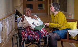 Deirdre Nelson with one of the dementia care home residents