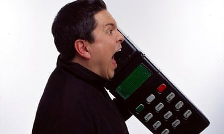 Loud and irritating: Dom Joly in Trigger Happy mocking mobile phone users.