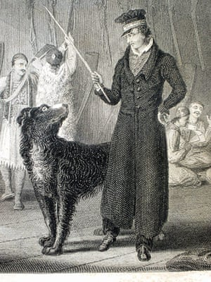 Byron: Engraving of Lord Byron with a dog