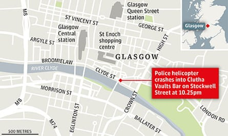 Map showing the location of Glasgow's Clutha Bar where a helicopter has crashed through the roof