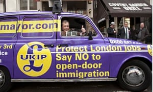 Farage gives thumbs up from purple London taxi saying: 'Say NO to open-door immigration'
