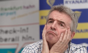CEO of Irish low-cost airline Ryanair, Michael O'Leary, gesturing during a media conference at Frankfurt-Hahn Airport, Hahn, Germany.