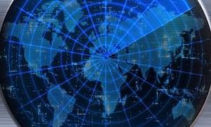 World map on a sonar or radar screen