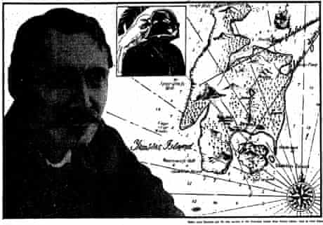 Guardian illustration of Treasure Island map, Robert Louis Stevenson and Darth Vader, 19 Nov 1983